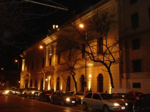Fachada iluminada edificio ANC